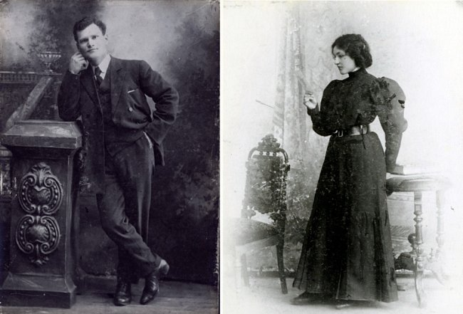 Before they were separated by the failed revolution of 1905, Abram and Sophie exchanged these portraits made in Odessa in 1905.  When they were reunited in America, they had them framed side by side.