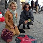 Janet Linder (L), a granddaughter of Abram and Sophie, with Patricia for the Red Star Line Museum opening in September 2013. The cobblestone route to the Museum was decorated with stars bearing the name of passengers, with their route, their ship, and the year of their journey.  We were thrilled to discover that one of them commemorates the journey of Abram's sister Gitel, the last of his family to get to America.